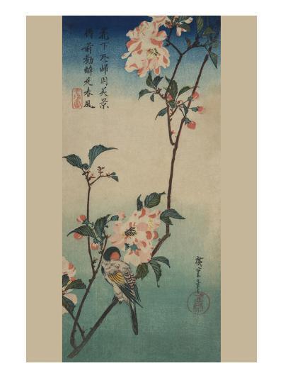 Small Bird on a Branch of Kaidozakura.-Ando Hiroshige-Art Print