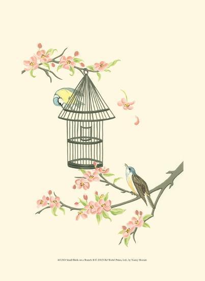Small Birds on a Branch II-Nancy Slocum-Art Print