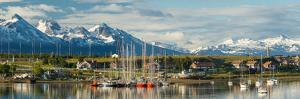 Small Boat Harbor and Snow Capped Mountains around Ushuaia, Tierra Del Fuego Province, Argentina
