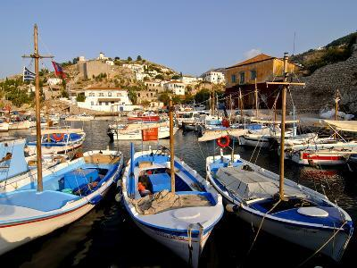 Small Boats in the Harbour of the Island of Hydra, Greek Islands, Greece, Europe--Photographic Print