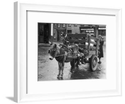 Small Boy Waits Patiently on a Donkey Cart in the Market Place at Kildare Co Kildare Ireland--Framed Photographic Print