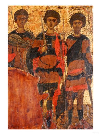 Small Byzantine Icon of Three Warrior Saints Depicting Saints George, Dimitri and Theodore c. 1400--Giclee Print