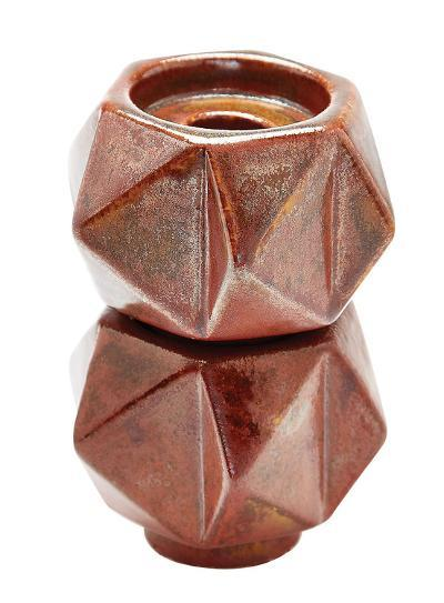 Small Ceramic Star Candle Holders - Russet. Set Of 2--Home Accessories