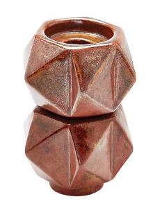 Small Ceramic Star Candle Holders - Russet. Set Of 2