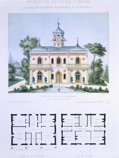 Small Country House Near Paris, Engraved by Walter, Plate 5, Architecture Pittoresque et Moderne-Andre Marty-Giclee Print