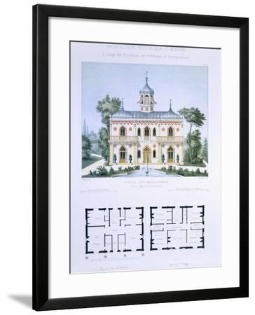 Small Country House Near Paris, Engraved by Walter, Plate 5, Architecture Pittoresque et Moderne-Andre Marty-Framed Giclee Print