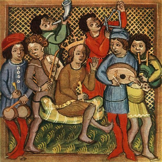 'Small drums, fiddle, horn, triangle lute and bagpipes; Olomouc Bible, 1417', 1948-Unknown-Giclee Print