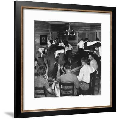 Small Ensemble of Fiddlers and Guitar Players Providing Live Music for an Enthusiastic Group-Eric Schaal-Framed Photographic Print