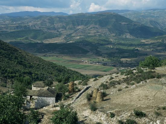 Small Farm in Foreground and Vjosa Valley Beyond, Albania-David Poole-Photographic Print