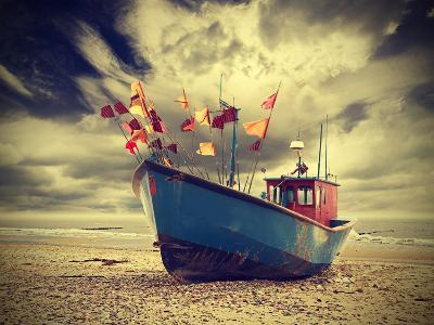 Small Fishing Boat on Shore of the Baltic Sea, Vintage Retro Instagram Style.-Maciej Bledowski-Premium Photographic Print