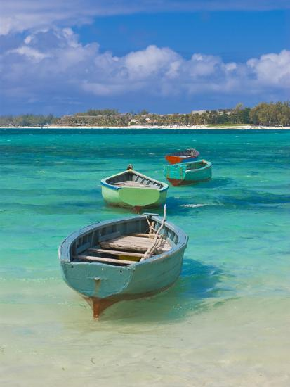Small Fishing Boats in the Turquoise Sea, Mauritius, Indian Ocean, Africa--Photographic Print