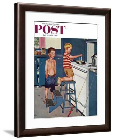 """""""Small Fry"""" Saturday Evening Post Cover, July 12, 1958-Amos Sewell-Framed Giclee Print"""