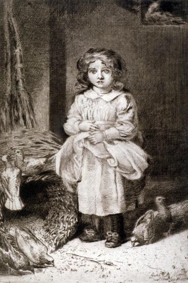 Small Girl Feeding Doves, C1888-Anna Lea Merritt-Giclee Print