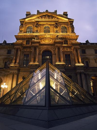 Small Glass Pyramid Outside the Louvre Museum at Dusk-Design Pics Inc-Photographic Print