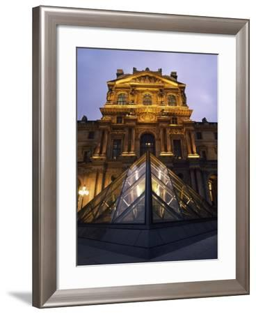 Small Glass Pyramid Outside the Louvre Museum at Dusk-Design Pics Inc-Framed Photographic Print