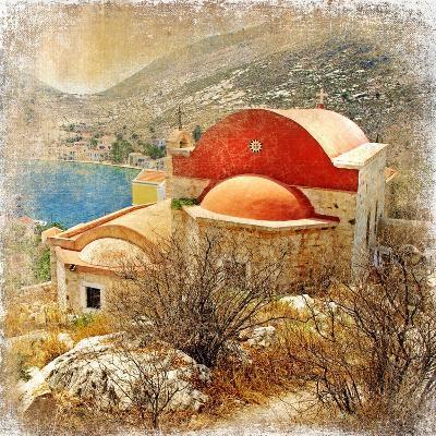 Small Greek Monastery -Artistic Retro Styled Picture-Maugli-l-Art Print