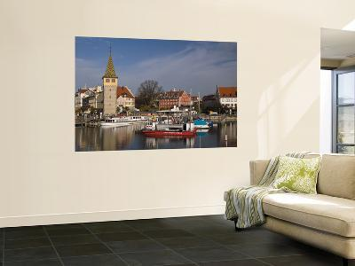 Small Harbour with Mang Tower (Left) on Bodensee (Lake Constance)-Glenn Van Der Knijff-Wall Mural