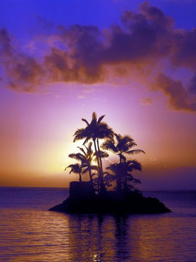 Small Island at Sunrise, South Pacific, HI-Tomas del Amo-Photographic Print