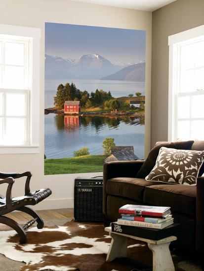 Small Island in Hardangerfjorden Nr Bergen, Western Fjords, Norway-Peter Adams-Wall Mural