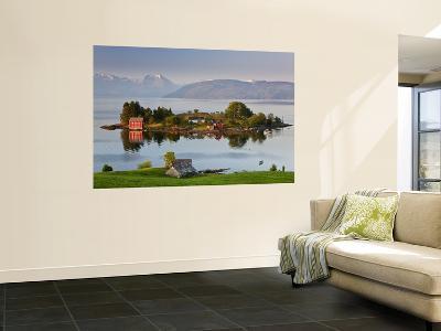 Small Island in Hardangerfjorden Nr Bergen, Western Fjords, Norway-Peter Adams-Giant Art Print