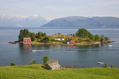 Small Island in Hardangerfjorden Nr Bergen, Western Fjords, Norway-Peter Adams-Photographic Print