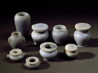 Small Jars for Cosmetics, Blue Marble, from Abydos, Middle Kingdom--Giclee Print