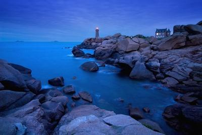 Small Lighthouse and House at Dusk-Design Pics Inc-Photographic Print