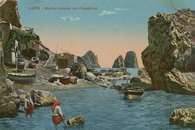 Small Marina and the Faraglioni, Capri. Postcard Sent in 1913-Italian Photographer-Giclee Print