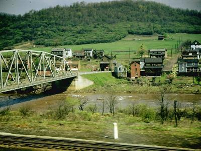 Small Motor Traffic Bridge over Stream Next to a Little Town-Walker Evans-Photographic Print