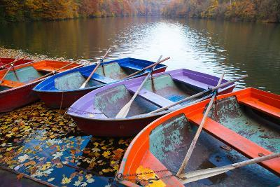 Small Pier with Boats on Lake. Colorful Autumn Landscape- CoolR-Photographic Print