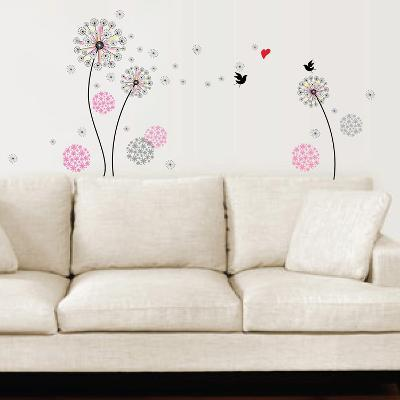 Small Pink Dandelion--Wall Decal