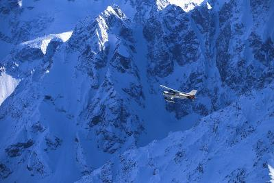 Small Plane Flying Above Chugach Mts Southcentral Ak - Nspring-Design Pics Inc-Photographic Print