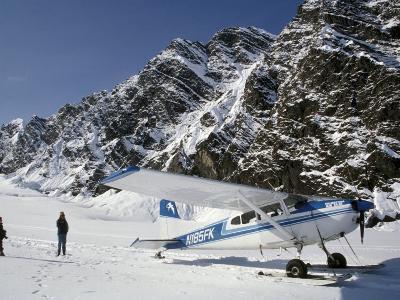 Small Plane Landed on Glacier in Denali National Park, Alaska, USA-James Gritz-Photographic Print