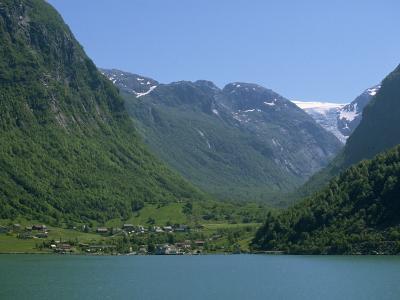 Small Settlement Beside a Fjord, Norway, Scandinavia, Europe-Ken Gillham-Photographic Print