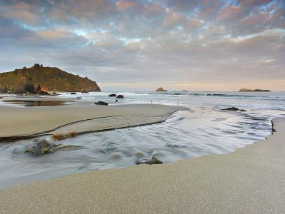 Small Stream Flowing Back into the Ocean over a Sandy Beach at Low Tide Near Eureka-Patrick Smith-Photographic Print