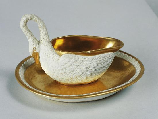 Small Swan-Shaped Gravy Boat, Porcelain, Dagoty Manufacture, Paris, France--Giclee Print