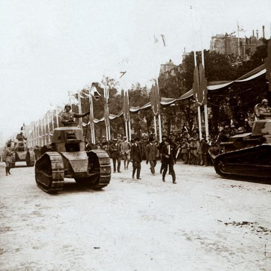 Small tanks, victory parade, Paris, France, c1918-c1919-Unknown-Photographic Print