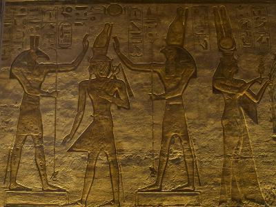 Small Temple or Temple of Hathor. The Gods Set (Left) and Horus (Right) Adoring Ramses II. Abu…--Giclee Print