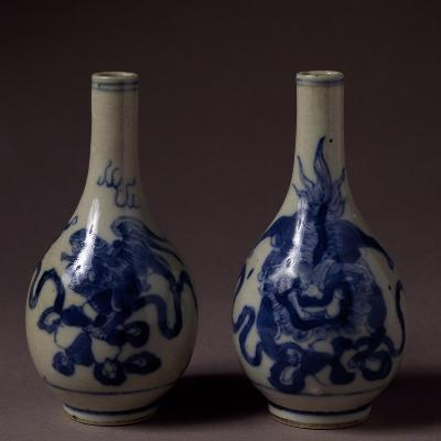Small Underglaze Blue Decorated Vases, Ceramic, China, Qing Dynasty, Chien Lung Reign--Giclee Print