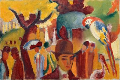 Small Zoological Garden in Brown and Yellow, 1912-August Macke-Giclee Print