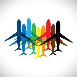 Abstract Colorful Airplane Icons by smarnad
