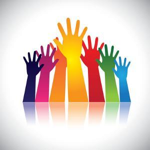 Colorful Abstract Hand Vectors Raised Together Showing Unity by smarnad