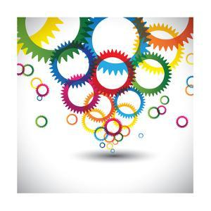Colorful Abstract Icons of Cogwheel or Gears by smarnad