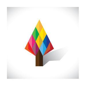 Colorful Abstract Tree Icon(Sign) Made Of Diamond Shapes by smarnad