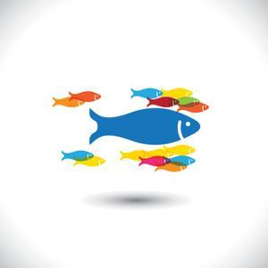 Concept of Leadership & Authority - Big Fish Leading Small Fishes by smarnad