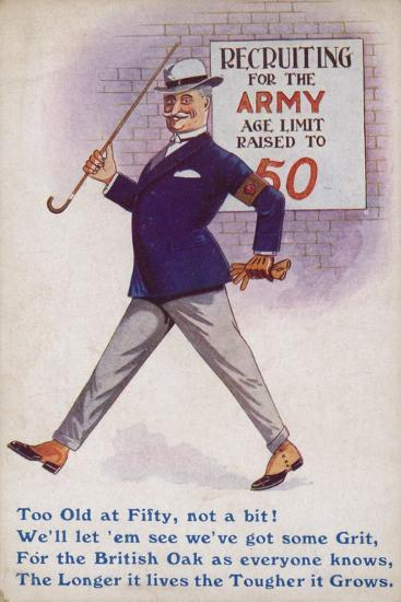 Smart English Gentleman Standing in Front of Poster for Recruiting Older Men to the Army--Giclee Print