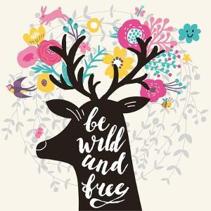 Be Wild and Free. Incredible Deer Silhouette with Awesome Horns Made of Flowers, Swallow, Rabbit, C by smilewithjul