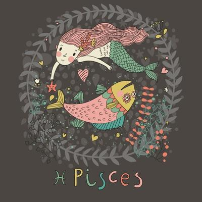 Cute Zodiac Sign - Pisces. Vector Illustration. Little Mermaid Swimming with Big Fish with Flowers