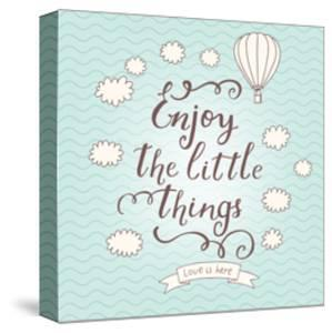 Enjoy the Little Things. Stylish Vector Card in Vintage Colors with Waves, Balloon, Text and Clouds by smilewithjul