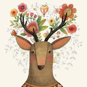 Incredible Deer with Awesome Flowers. Lovely Spring Concept Design in Vector. Sweet Deer and Flower by smilewithjul
